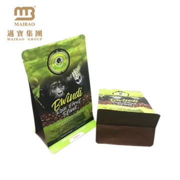 Paquet latéral plat de grain de café de sac de café de gousset de fond fait sur commande de catégorie comestible avec la valve