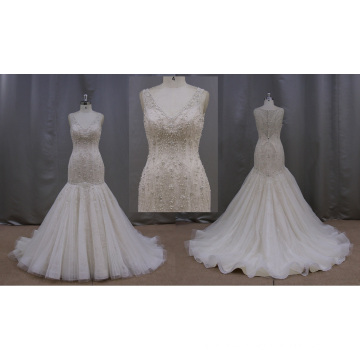 Full Beaded Sleeveless Champagne Wedding Dress