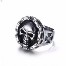 Atacado de aço inoxidável gravado jóias gótico crânio anéis