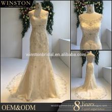 Decoração de contas de alta qualidade vestido de noiva de sereia imagem real