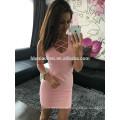 Ebaby aliexpress heißes Verkaufsfrauenkleid Normallack niedrig-breasted Rundhalsausschnitt sleeveless Pakethüfte sexy Nachtkleid für Frauen