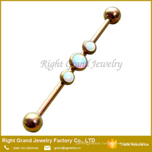 316L Surgical Steel Titanium Gold Plated Triple Synthetic Fire Opals Industrial Barbell Earring 38mm