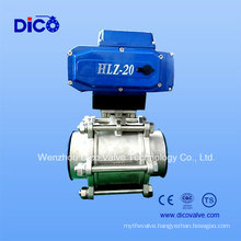 Three Part Socket Weld End Ball Valve with Motor Control Actuator