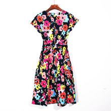 Women Short Sleeve Printing Dress