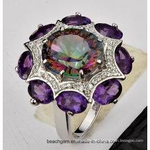 Joias anéis conjunto com Topázio místico e cor de pedra (TR1222)