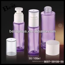 botella cosmética púrpura de la bomba de la espuma del vidrio 100ml con la tapa clara, botella de cristal cosmética, botella de la loción de cristal del cuidado de la piel