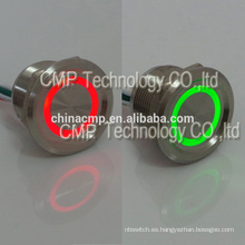 Dual Led Color 12 v 24 v Rojo Verde Iluminado Metal Anti Vandalismo Cierre Pulsador Pulsador Piezo Eléctrico Senor Impermeable IP68