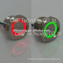 Dual Led Color 12v 24v Red Green Illuminated Metal Anti Vandal Latching Push Button Piezo Electric Senor Switch Waterproof IP68