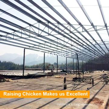 Maison préfabriquée de poulet de structure d'acier de coût bas
