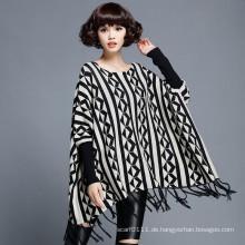 Frauen Mode Baumwolle Nylon gestrickte Winter Fringe Pullover (YKY2054)