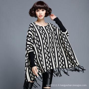 Pull en tricot de frange d'hiver tricoté en nylon de coton de mode des femmes (YKY2054)