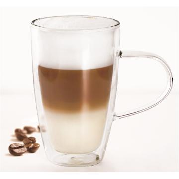 Tazas de cristal de doble pared vendedoras calientes para el juego del té y del café de 2