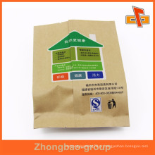 Personalizado lado traseiro selado gusset barato kraft sacos de papel para nozes