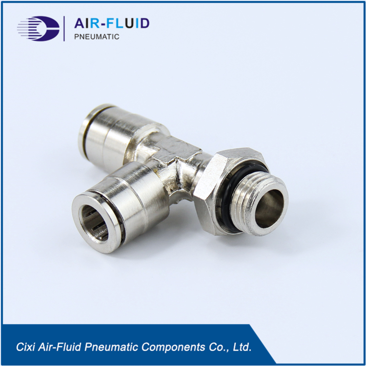 Air-Fluid Metal Pneumatic  Fittings Run Tee