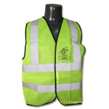 Gilet de sécurité d'entrepôt de construction réfléchissant de visibilité élevée de vert de chaux (YKY2825)