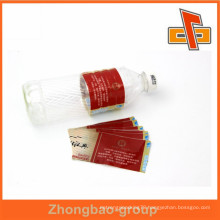 High quality clear customized plastic water bottle label design for packaging