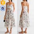 Printed Cotton-voile Halterneck Dress Manufacture Wholesale Fashion Women Apparel (TA4094D)