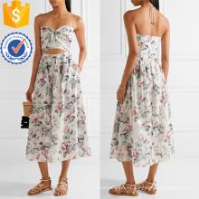 Vestido estampado de cuello alto de algodón de la gasa Fabricación al por mayor de prendas de vestir de las mujeres de la moda (TA4094D)