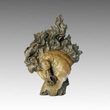 Sculpture en bronze animal Grande tête à cheval Craft Deco Statue en laiton Tpal-001