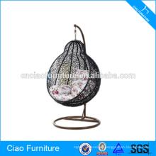 Синтетический Открытый PE ротанга круглый стул качания wicker мебель