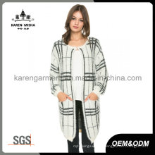 Geometric Pattern Hairy Knit Pocket Cardigan for Women