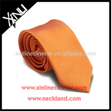 Perfect Knot 100% Handmade Silk Woven Mens Slim Neck Ties Orange