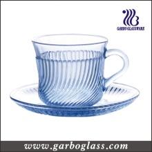 180ml Taza y platillo de vidrio azul con relieve en línea