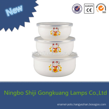 Wholesale High Quality 3Pcs Enamel Mixing Pedicure Bowl with plastic cover