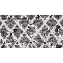 Black and White Sequins Mesh Embroidery Fabric for Dressing