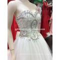 Vestido de noiva de vestido de esfera 2016 Soft Vestido de noiva em Tulle com Sequins de renda Emroidered Beads Crystals Sweetheart Neck A094