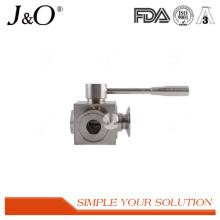 Válvula de esfera de aço inoxidável da braçadeira sanitária de 3 maneiras