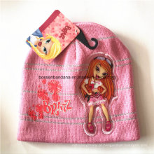 OEM Produce Customized Cartoon Applique bordado Pink Winter Snowboard lã Beanie Hat