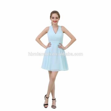 Moda luz azul vestido de noite curto mexicano para festa