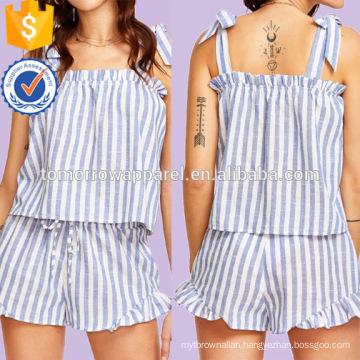 Striped Self Tie Shoulder Top And Ruffle Trim Shorts Set Manufacture Wholesale Fashion Women Apparel (TA4088SS)