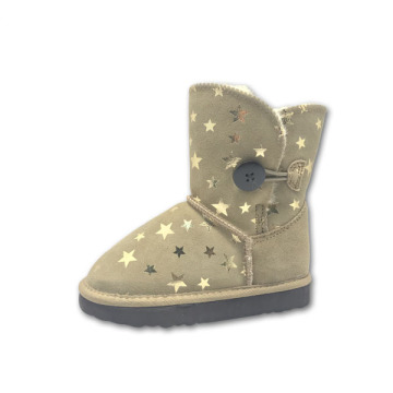 Brown Star Print Girls Winter Boots of Kids