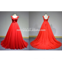 New style sweep tail strap pleats a-line backless lace red tulle dress Plus size red tube sex women party dress