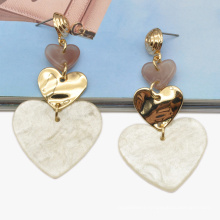 Custom dangle drop stud ear jewelry for women acrylic and alloy material love heart earrings