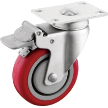 Medium Duty PU Casters with Plastic Brakes