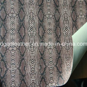 Schlangen-Oberfläche Doppelseitige PU Schuhe Leder (QDL-SP043)