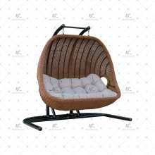 Stylish Design Poly Synthetic Resine Rattan 2-Seater Swing Chair ou Hammock para Jardim ao ar livre Patio Wicker Furniture