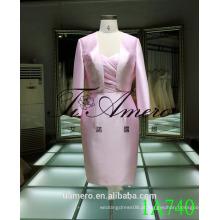 1A740 Brilhante Rosa Vestido formal de cetim Comprimento do joelho Back Lace Womens Suits 2016