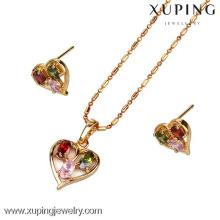 60591-Xuping conjunto de jóias de coração-forma de jóias de ouro chapeado