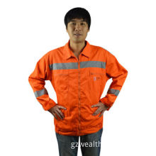 Knitted fluo fabric with PVC safety uniform