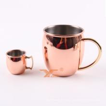 Caneca de cobre de aço inoxidável de cobre do estilo de Moscou da caneca bebendo da cerveja chapeada