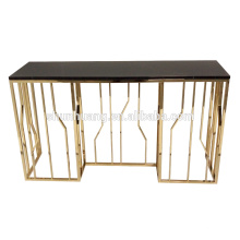 hot sale glass top hotel hall console stainless steel hall cabinet