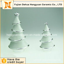 Electroplating White Ceramic Christmas Tree Decoration