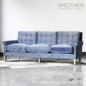 Sofá de la sala de estar del marco de madera de los muebles de tapicería con 3 asientos