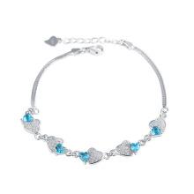 Mar azul elemento de cristal Doble corazón con serpiente cadena pulsera para los amantes mejor regalo