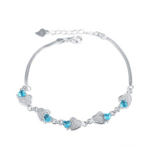 Mar azul elemento cristal coração duplo com pulseira de corrente de cobra para os amantes melhor presente
