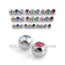 Threaded Surgical Ball Piercing Stainless Steel Gem Ball